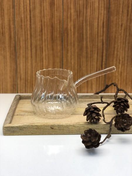 Glas Mokkakocher Milchkanne 400ml Cezve Reliefoptik