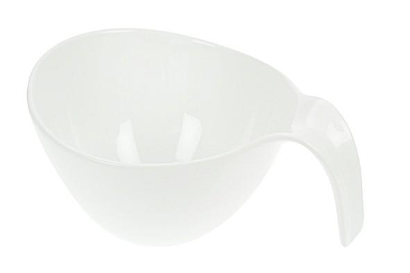 Salat Schüssel mit Henkel Löffelform Porzellan