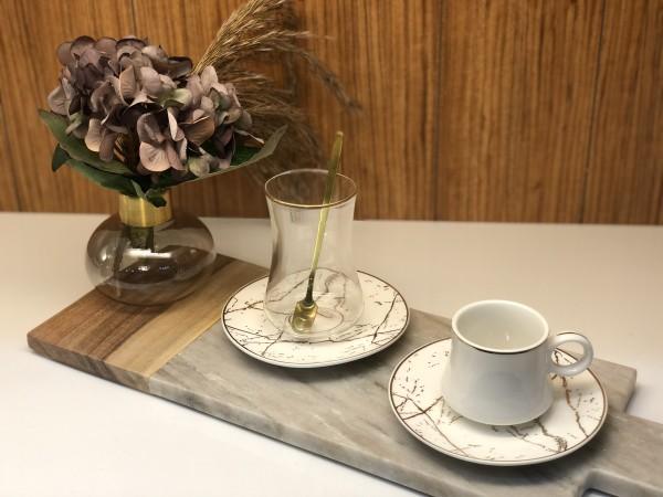 24 tlg. Mokkatassen & Teegläser Set mit Löffel Marmor weiss gold