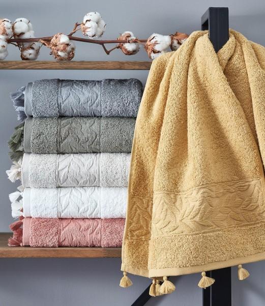 Baumwolle Duschtuch mit Quasten 70x140cm weiss