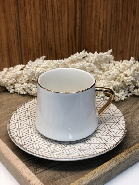 Elegante Kaffeetassen 12 tlg. Gold weiss glänzend