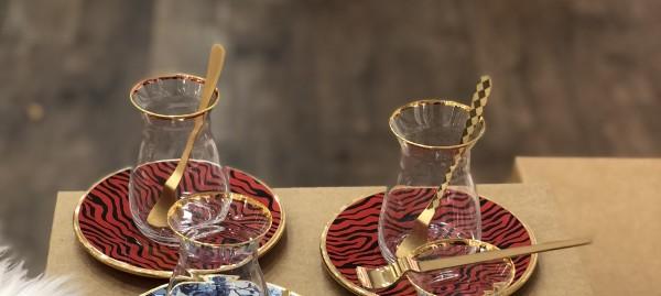 Design Teegläser Set Jade Rot schwarz