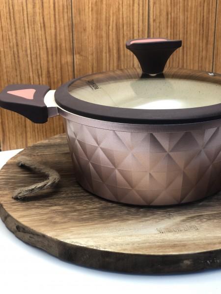 8 tlg Topfset Kupfer Granit Kochset Induktion geeignet rosegold