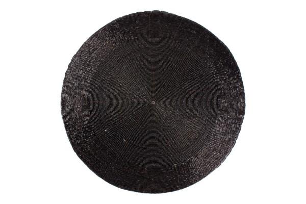 Platzset 35 cm rund schwarz Perlen
