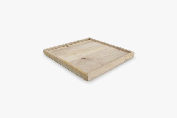 Tablett Holz Wood rechteckig 25x25 cm Holztablett aus Mangoholz