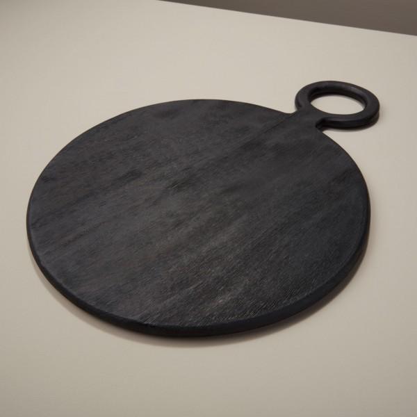 Servierbrett Schwarz groß aus Mangoholz rund Servierplatte 36x49,5 cm