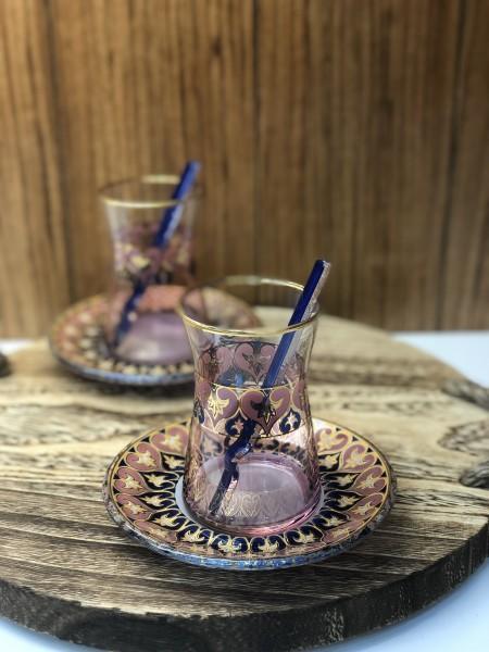 Teegläser Set rosa gold mit Löffel 18 tlg.