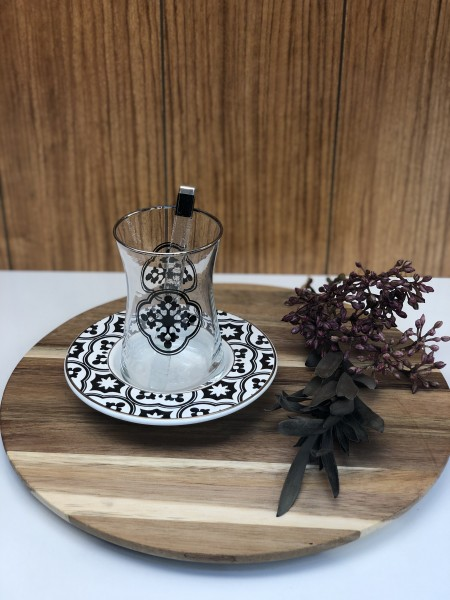 Teegläser Set 18 tlg. Schwarz -Silber