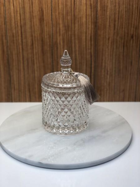 Zuckerdose aus Glas mit Rautenmuster groß Bonboniere