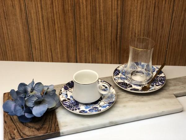24 tlg. Mokkatassen & Teegläser Set mit Löffel Blue Tropical