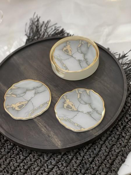 6er Glasuntersetzer Set gold - grau Marble look