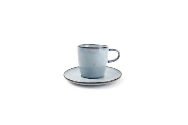 Kaffeetasse hellblau mit Unterteller 18cl Marrakesh