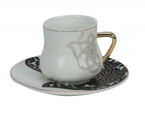 6er Kaffeetassen Set Hamsa gold schwarz