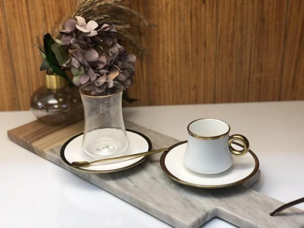 24 tlg. Mokkatassen & Teegläser Set mit Löffel weiss gold matt
