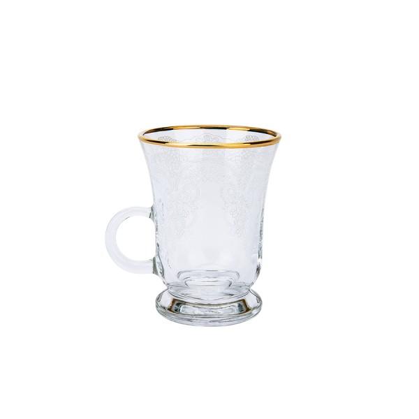 Karaca Bella 6er Teetassen mit Henkel gold umrandet