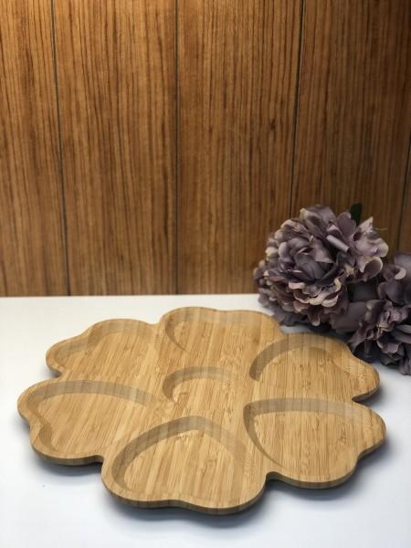 Bambus Servierplatte geteilt rund