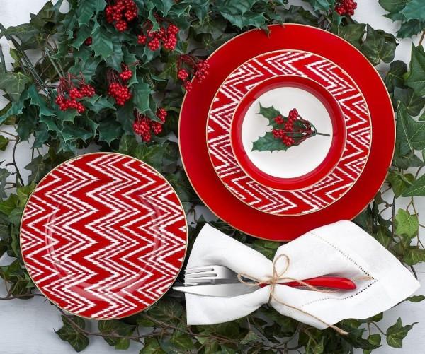 Neva N2586 Sweet Rot Geschirrset für 6 Personen 24 tlg. Valentine-