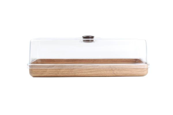 Kuchenplatte mit Glocke in Holzoptik