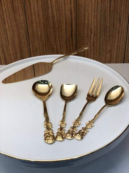 Vintage Kuchenbesteck gold 15tlg. für 6 Personen rostfrei