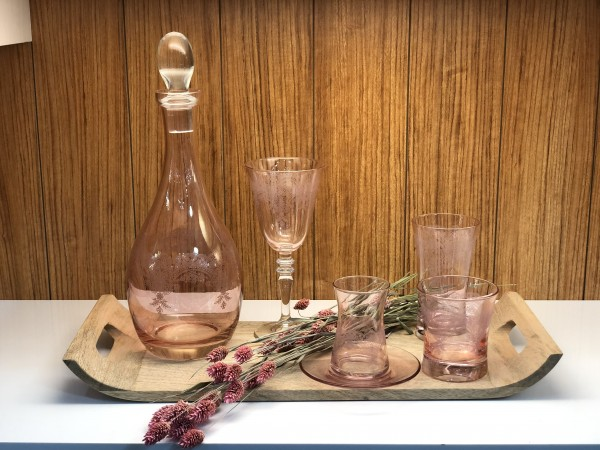 Gläser Set rosa mit Gravur 36 teilig