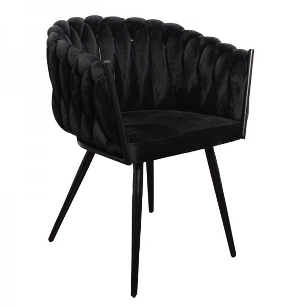 Esszimmer Stuhl Wave schwarz samt