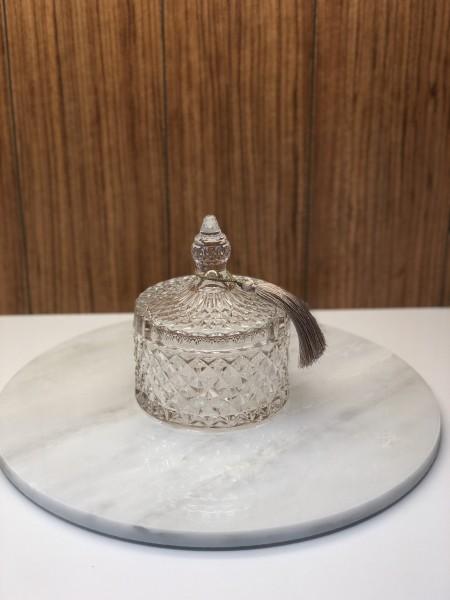 Zuckerdose aus Glas mit Rautenmuster