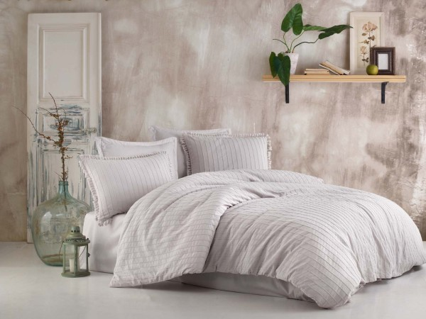 6tlg. Bettwäsche mit Quasten grau 200x220 cm 100% Baumwolle