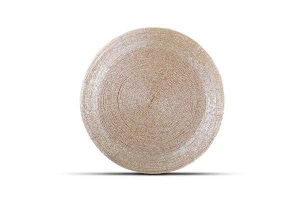 Platzset rund mit Perlen beige 35 cm