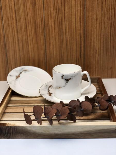 Drancy Kaffeetassen 6er Set Marble 12tlg. Marmor