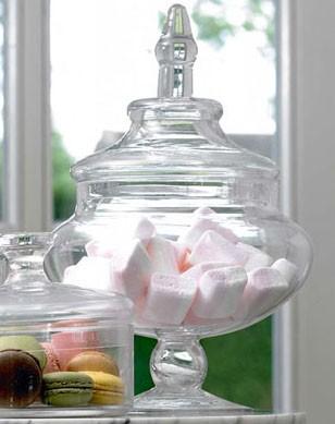 große Glas Bonboniere auf Fuß mit Deckel D19.6XH30.6CM