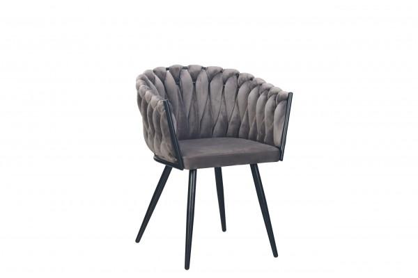 Esszimmer Stuhl Wave dunkel grau samt