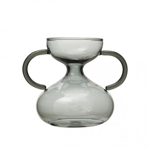 Vase mit Henkel grau aus Glas 13x10 x H 11 cm