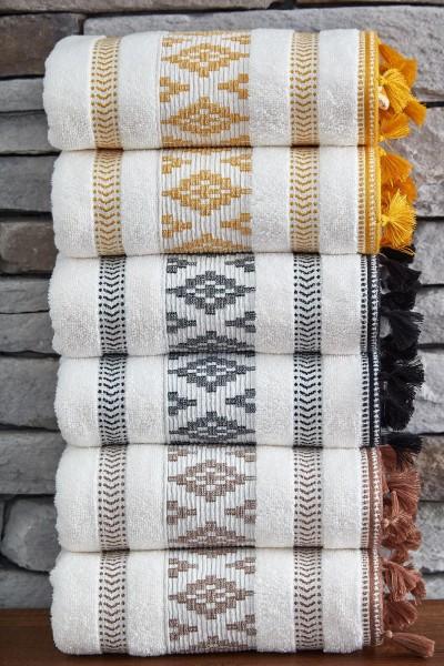 Baumwolle Handtuch mit Quasten 50x90cm Jacqui gelb