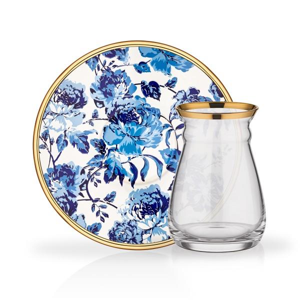 Design Teegläser Set Blau gold Blumenmuster