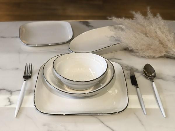 Evry Geschirrset für 6 Personen weiss silber 25 tlg