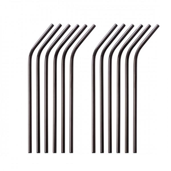 Edelstahl Trinkhalm 12er Set schwarz 21,5 cm gebogen