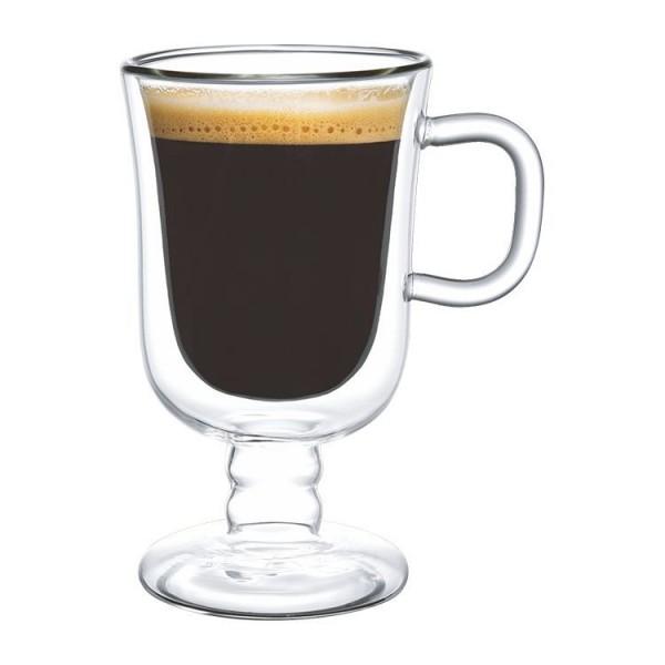 2er Latte Macchiato Gläser mit Henkel auf Fuß doppelwandig