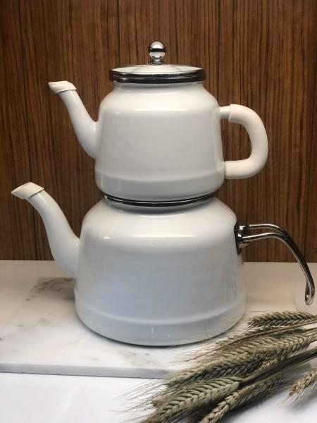 Teekanne Dava weiss silber Emaille Induktion geeignet