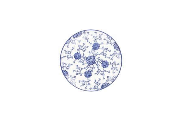 Teller Flach rund 20 cm Moments Dessertteller blau weiss