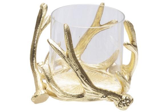 Teelichthalter gold 16x16xH10 cm Nickel