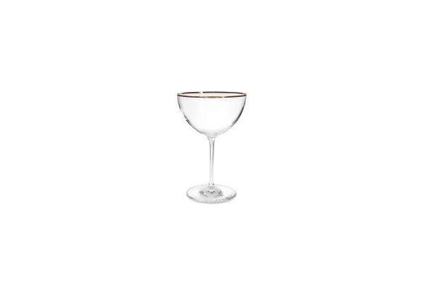 2er Schale auf Fuss Goldrand 35 cl Champagneschale Glas Elegance