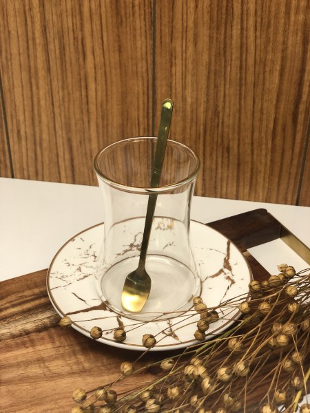 18 tlg. Teegläser Marble Set mit Löffel Gold BR008 Marmor -optik