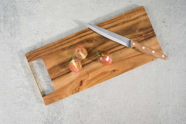 Holz Servierbrett mit goldenem Griff 35x15xH 1,2 cm