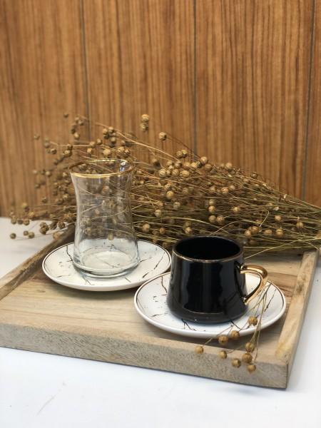 18tlg. Mokkatassen & Teegläser Set Marmoroptik schwarz weiss