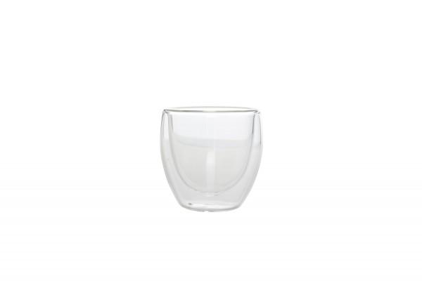 Doppelwandige Mokkatasse doppelwandig Glas 0,13 L