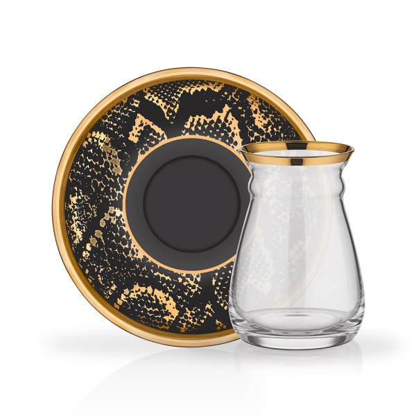 Design Teegläser schwarz gold Aloni