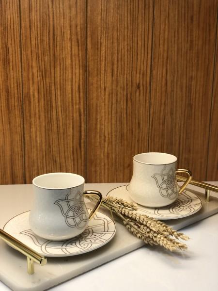 6er Kaffeetassen Set Hamsa gold weiss