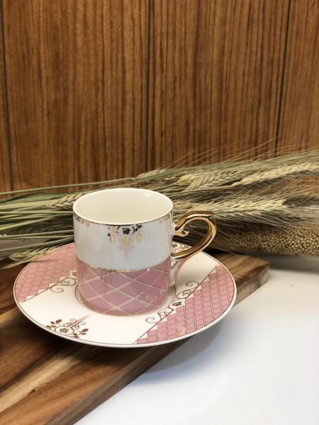 6er Mokkatassen Set rosa gold vintage