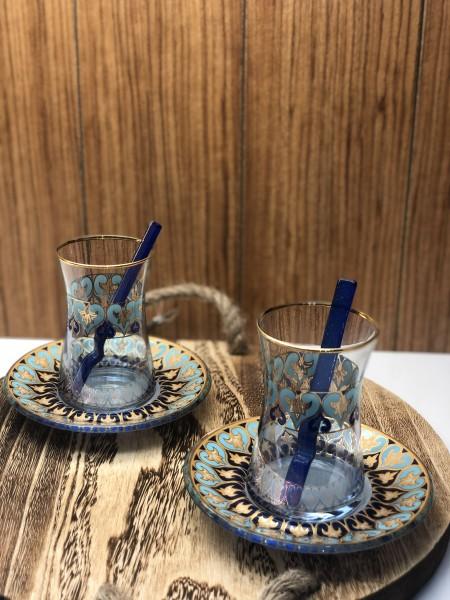 Teegläser Set blau gold mit Löffel 18 tlg.