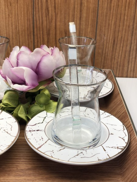 Teegläser Marmor weiß silber 18-teilig